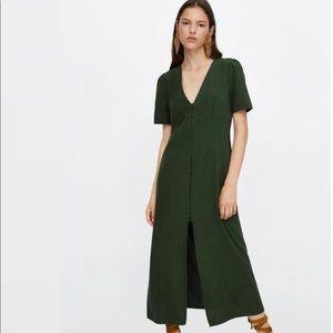 Zara Green Button Down Maxi Dress Size Medium NEW